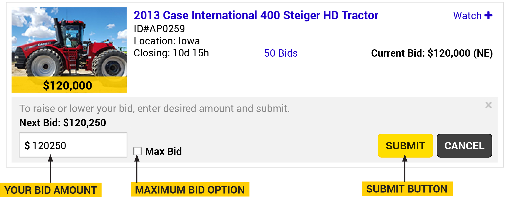 Item with the bidding pop-in box open